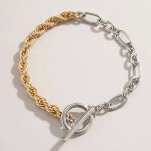 Two Tone Metal Chain Toggle Bracelet